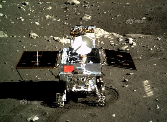 Portrait photo of Yutu moon rover taken by camera on the Chang'e-3 moon lander on Dec. 15, 2013 shortly after rolling all 6 wheels onto lunar surface.  Credit: Chinese Academy of Sciences