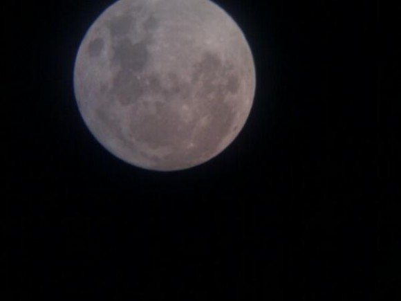 The MiniMoon shot using a mobile phone held up to the eyepeice of a telescope. Credit-Andrew Millarkie (@Millarkie)