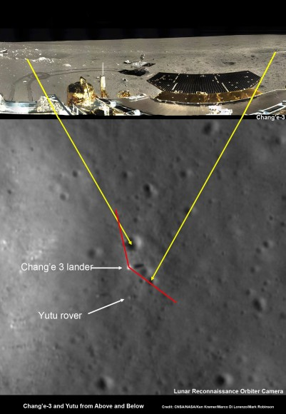 Chang'e-3 lander and Yutu rover – from Above And Below  Composite view shows China's Chang'e