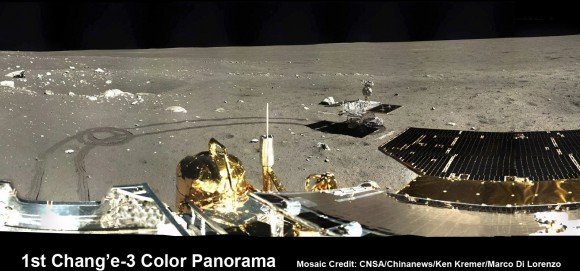 1st 360 Degree Color Panorama from China's Chang'e-3 Lunar Lander. Portion of 1st color panorama from Chang'e-3 lander focuses on the 'Yutu' lunar rover and the impressive tracks it left behind after initially rolling all six wheels onto the pockmarked and gray lunar terrain on Dec. 15, 2013. Mosaic Credit: CNSA/Chinanews/Ken Kremer/Marco Di Lorenzo