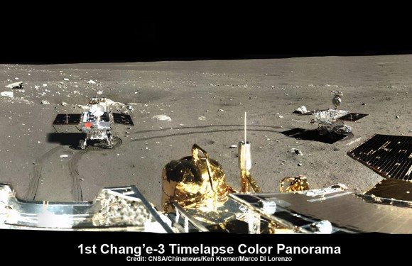This time-lapse color panorama from China's Chang'e-3 lander shows the Yutu rover at two different positions during its trek over the Moon's surface at its landing site from Dec. 15-18, 2013. This view was taken from the 360-degree panorama. Credit: CNSA/Chinanews/Ken Kremer/Marco Di Lorenzo.   See our complete Yutu timelapse pano at NASA APOD Feb. 3, 2014:  http://apod.nasa.gov/apod/ap140203.htm
