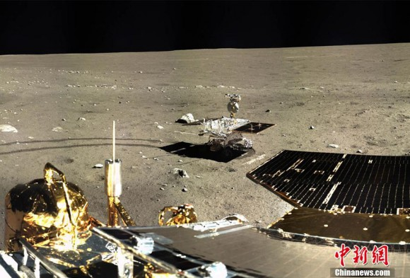 The Yutu rover and lander solar panels are seen in this new image sent Jan. 17 from the moon. Credit: Chinanews.com