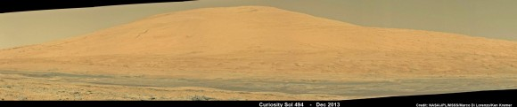 Curiosity Celebrates 500 Sols on Mars on Jan. 1, 2014.  NASA's Curiosity rover snaps fabulous new mosaic spying towering Mount Sharp destination looming dead ahead with her high resolution color cameras, in this cropped view. See full mosaic below. Imagery assembled from Mastcam raw images taken on Dec. 26, 2013 (Sol 494).   Credi