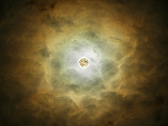 "A ""MiniMoon Nebula..."" The Full Moon illuminating foreground clouds. The HDR visualization of the Moon was added for context. Taken with a tripod mounted Nikon P90 Bridge camera. Credit: Giuseppe Petricca of Sulmona, Abruzzo, Italy."