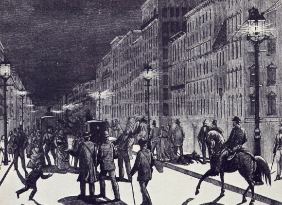 First electric lighting: New York City around 1880.