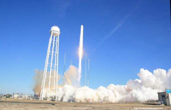 Antares soars to space on Jan. 9, 2014 from NASA Wallops on Virginia coast on the Orb-1 mission to the ISS.  Photo taken by remote camera at launch pad. Credit: Ken Kremer - kenkremer.com