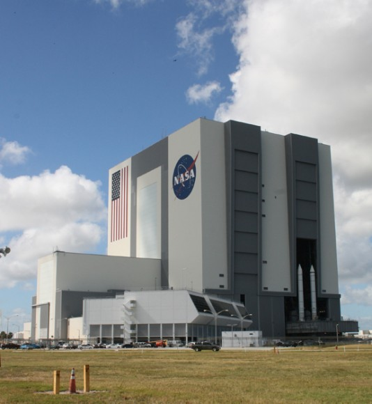 NASA's iconic Vehicle Assembly Building (VAB) and Launch Control Center (LCC) at the Kennedy Space Center, Florida. Public access tours inside the VAB will end on Feb. 11, 2014.   Apollo Saturn V Moon rockets and Space Shuttles were assembled inside. Credit: Ken Kremer - kenkremer.com