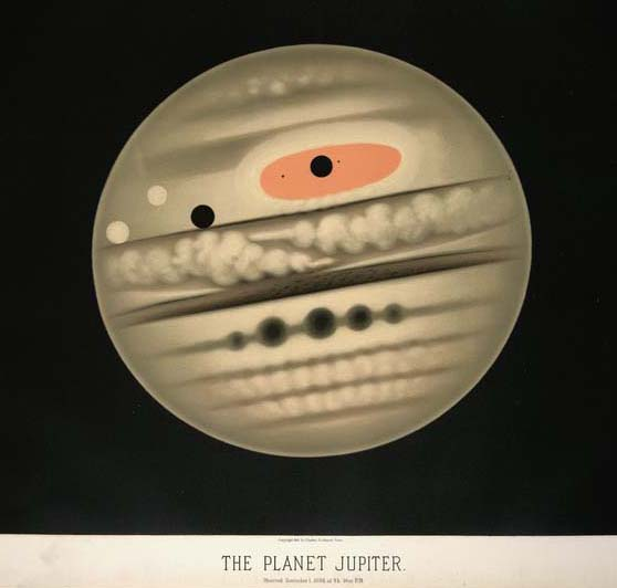 Drawing of Jupiter on Nov. 1, 1880 by French artist and astronomer Etienne Trouvelot