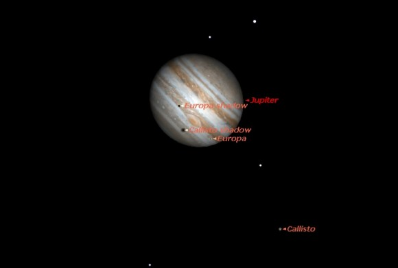 The double shadow transit of February 6th as seen at 11:22 UT. Created by the author using Starry Night Education software.