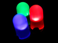 Small individually colored LED lights. LEDs are an electronic light based on semiconductors instead of