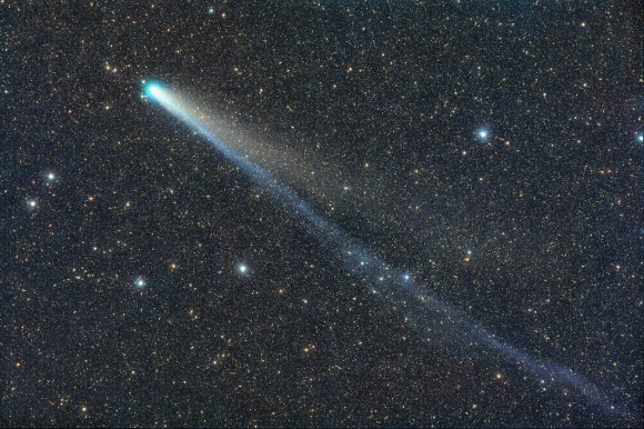 Comet Lovejoy still shows both an ion tail (blue) and dust tail in this photo taken Jan. 12 from Stixendorf, Austria. Credit: Michael Jaeger