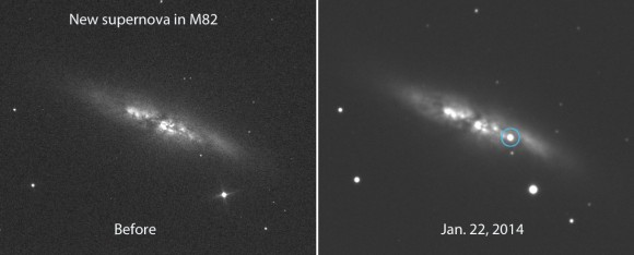 Supernova in M82, before and after, by  E. Guido, N. Howes, M. Nicolini