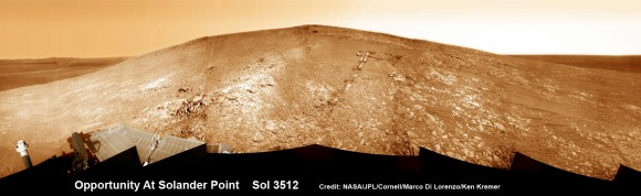"Opportunity by Solander Point peak – 2nd Mars Decade Starts here!  NASA's Opportunity rover captured this panoramic mosaic on Dec. 10, 2013 (Sol 3512) near the summit of ""Solander Point"" on the western rim of Endeavour Crater where she starts Decade 2 on the Red Planet. She is currently investigating outcrops of potential clay minerals formed in liquid water on her 1st mountain climbing adventure. Assembled from Sol 3512 navcam raw images. Credit: NASA/JPL/Cornell/Marco Di Lorenzo/Ken"