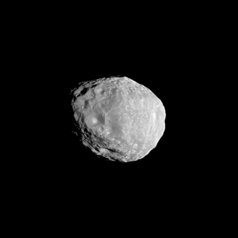 A Distant View Of Janus One Of Saturn S Dancing Moons