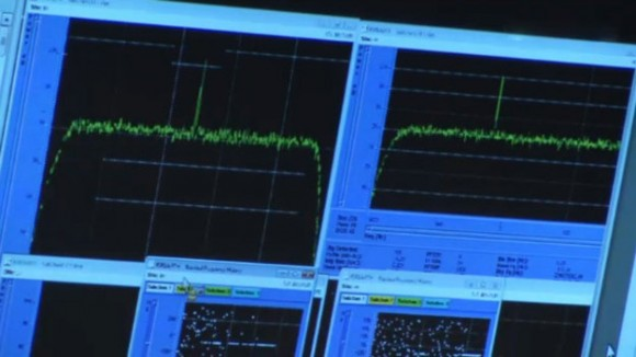 Data monitors from Rosetta showing the signal received back on Earth from the spacecraft. Credit: ESA.