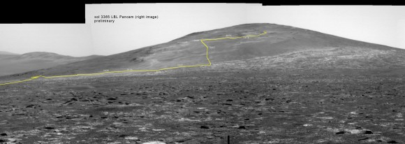 Back on sol 3365 we took this image of Solander Point as we approached it. Here I have plotted the subsequent route that Opportunity has taken in climbing up the ridge. The outcrop shown I the images below are near the end of the yellow traverse line.  Caption and mosaic by Larry Crumpler/NASA/JPL/
