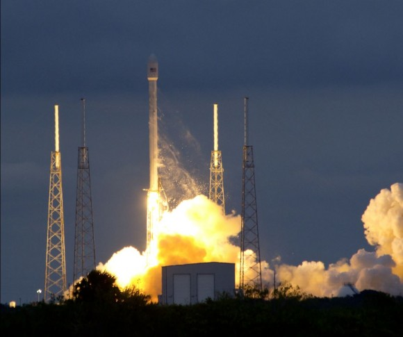 Blastoff of 1st Falcon 9 rocket in 2014 with Thaicom 6 commercial satellite from Cape Canaveral, FL on Jan. 6. Credit: Jeff Seibert