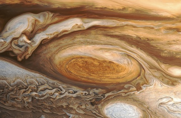 Reprocessed view by Bjorn Jonsson of the Great Red Spot taken by Voyager 1 in 1979 reveals an incredible wealth of detail.