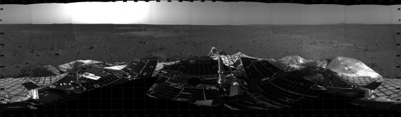 Ten Years Ago, Spirit Rover Lands on Mars . This mosaic image taken on Jan. 4, 2004, by the navigation camera on the Mars Exploration Rover Spirit, shows a 360 degree panoramic view of the rover on the surface of Mars.   Spirit operated for more than six years after landing in January 2004 for what was planned as a three-month mission. Credit: NASA/JPL