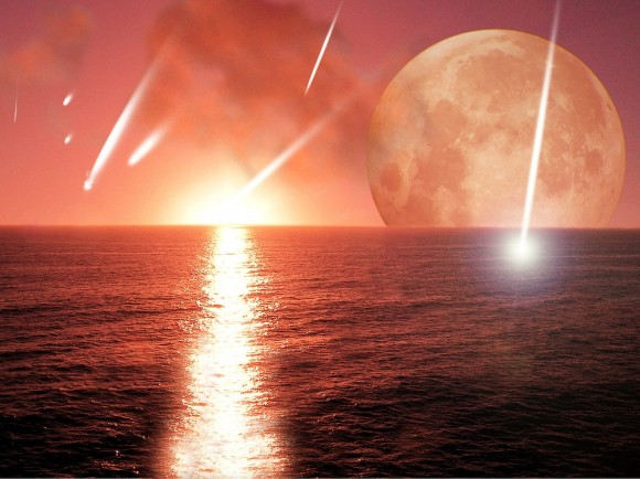 Artist's conception of asteroids or comets bearing water to a proto-Earth. Credit: Harvard-Smithsonian Center for Astrophysics