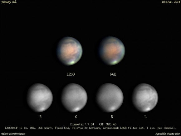 Astrophotographers are already getting some great images of Mars, such as this sequence captured by Efrain Morales Rivera on January 9th, 2014.