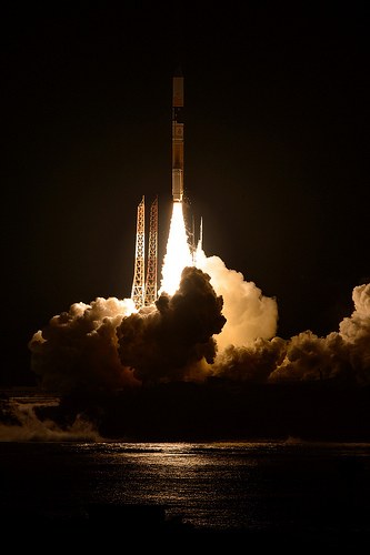 GPM lifts off on Feb. 27, EST (Feb. 28 JST) to begin its Earth-observing mission.  Credit: NASA/Bill Ingalls