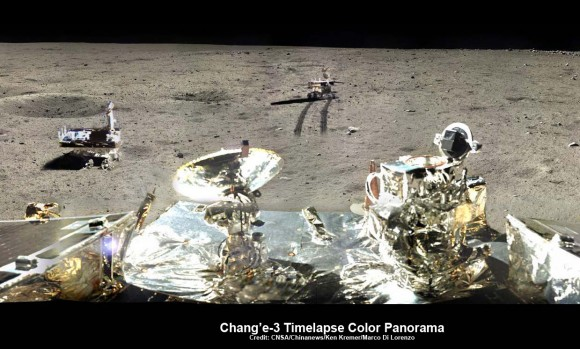 Chang'e-3/Yutu Timelapse Color Panorama  This newly expanded timelapse composite view shows China's Yutu moon rover at two positions passing by crater and heading south and away from the Chang'e-3 lunar landing site forever about a week after the Dec. 14, 2013 touchdown at Mare Imbrium. This cropped view was taken from the 360-degree timelapse panorama. See complete 360 degree landing site timelapse panorama herein and APOD Feb. 3, 2014. Chang'e-3 landers extreme ultraviolet (EUV) camera is at right, antenna at left. Credit: CNSA/Chinanews/Ken Kremer/Marco Di Lorenzo – kenkremer.com.   See our complete Yutu timelapse pano at NASA APOD Feb. 3, 2014:  http://apod.nasa.gov/apod/ap140203.htm