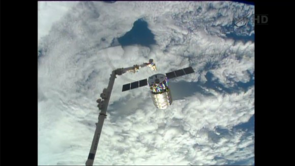 The Cygnus private cargo craft built by Orbital Sciences Corp. was released from the station's robotic arm at 6:41am EST, Feb 18. It will burn up in Earth's atmosphere on Wednesday, Feb. 19, 2014. Credit: NASA TV