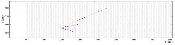 One of the first detections by NOvA of Fermilab-made neutrinos (Image courtesy of NOvA collaboration)