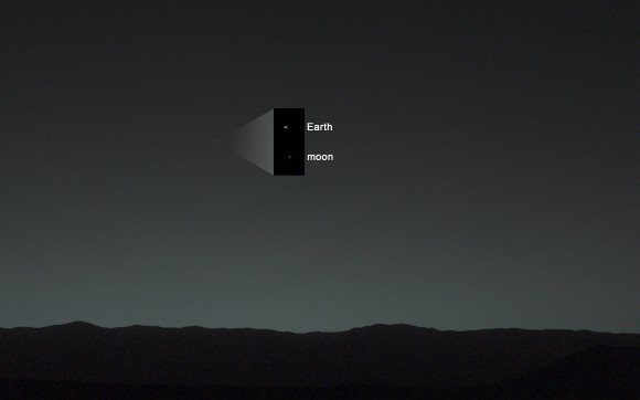 Annotated evening-sky view taken by NASA's Mars rover Curiosity shows the  Earth and Earth's moon - enlarged in inset - as seen on Jan. 31, 2014, or Sol 529 shortly after sunset at the Dingo Gap sand dune.  Credit: NASA/JPL-Caltech/MSSS/TAMU