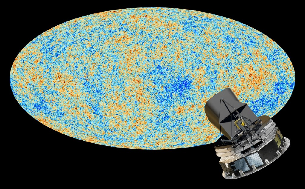Artist's conception of Planck, a space observatory operated by the European Space Agency, and the cosmic microwave background. Credit: ESA and the Planck Collaboration - D. Ducros