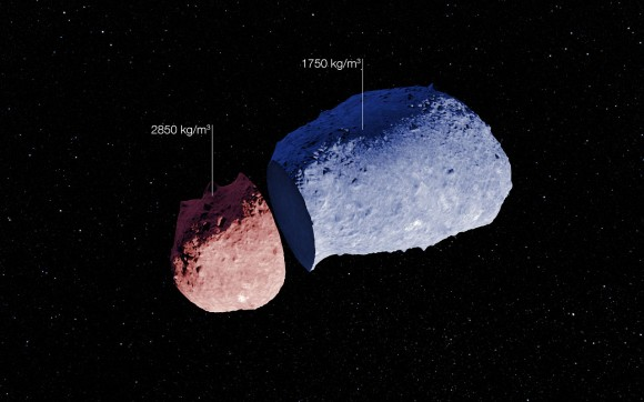 Itokawa, a peanut-shaped asteroid that has different densities in its small body. Credit: ESO/JAXA