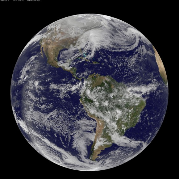 Full disk image of the winter storm over the U.S. so