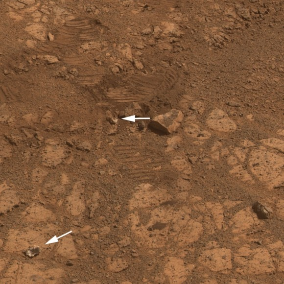 "This image from the panoramic camera (Pancam) on NASA's rover Opportunity shows the location of a rock called ""Pinnacle Island"" before it appeared in front of the rover in early January 2014.  Arrow at lower left. This image was taken during Sol 3567 of Opportunity's work on Mars (Feb. 4, 201"