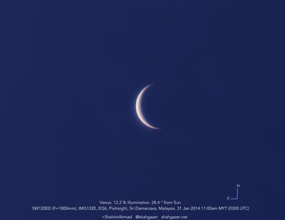 Venus as captured by Shahrin Ahmad (@shahgazer) on January 31st, 2014. Credit- Shahgazer.net.