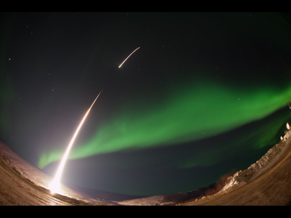 On March 3, 2014 the The Ground-to-Rocket Electrodynamics – Electron Correlative Experiment (GREECE)  sounding rocket launched straight into an aurora from the Poker Flat Research Range in Poker Flat, Alaska. Credit: NASA