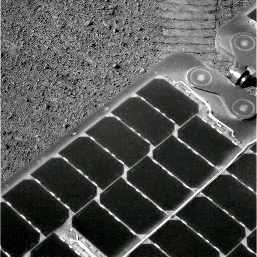 A nearly dust-free solar panel for the Opportunity rover following a dust cleaning wind event sometime during the last week of March 2014 (on Earth).  Credit: NASA/JPL-Caltech/Cornell Univ./Arizona State University.