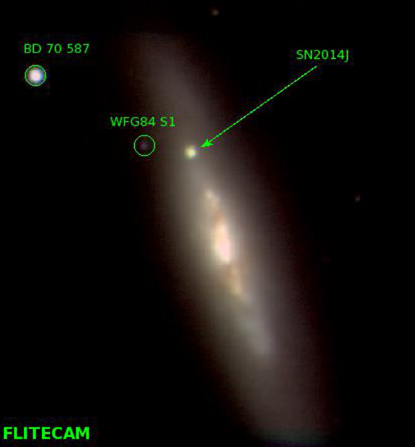 Image of M82 including the supernova at near-infrared wavelengths J, H, and K (1.2, 1.65, and 2.2 microns), made Feb. 20 by the FLITECAM instrument on SOFIA. (NASA/SOFIA/FLITECAM team/S. Shenoy)