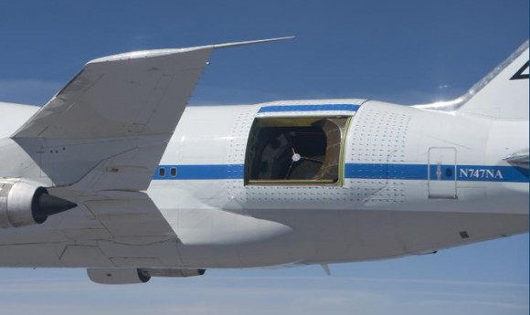NASA's Stratospheric Observatory for Infrared Astronomy (SOFIA) during a flight in 2010. Credit: NASA