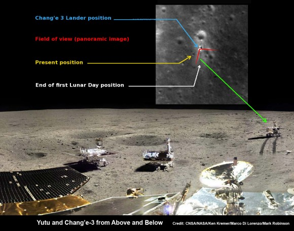 Yutu rover drives around Chang'e-3 lander  – from Above And Below. Composite view shows China's Yutu rover driving in clockwise direction around Chang'e-3 lander from Above And Below (orbit and surface).  The Chang'e-3 timelapse lander color panorama (bottom) and orbital view (top) from NASA's LRO orbiter shows Yutu rover after it drove down the ramp to the moon's surface and began driving around the landers right side and heading s