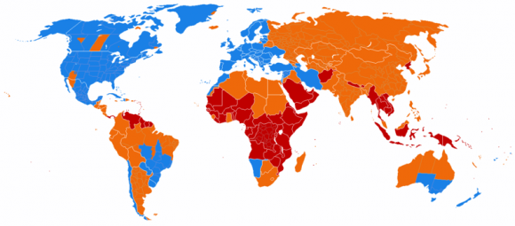 Current DST usage worldwide. Regions in blue currently use DST, orange have scrapped DST, and regions in red have never used DST. Credit: Paul Eggert under a wikimedia Creative Commons Attribution-Share Alike 3.0 Unported license.