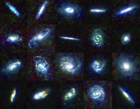 A portion of a collage of galaxies included in the Herschel Reference Survey, in false color to show different dust temperatures. (Blue is colder, and red is warmer). Credit: ESA/Herschel/HRS-SAG2 and HeViCS Key Programmes/L. Cortese (Swinburne University)