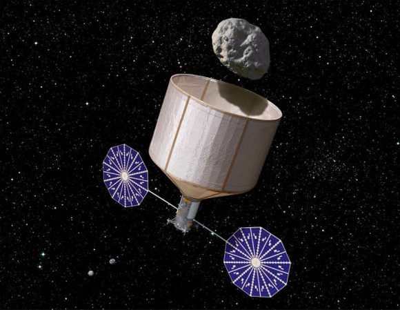 Artist's conception of NASA's asteroid retrieval mission. Credit: NASA