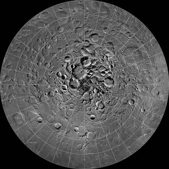 A new interactive mosaic from NASA's Lunar Reconnaissance Orbiter covers the north pole of the moon from 60 to 90 degrees north latitude at a resolution of 6-1/2 feet (2 meters) per pixel. Close-ups of Thales crater (right side) zoom in to reveal increasing levels of detail. Image Credit: NASA/GSFC/Arizona State University