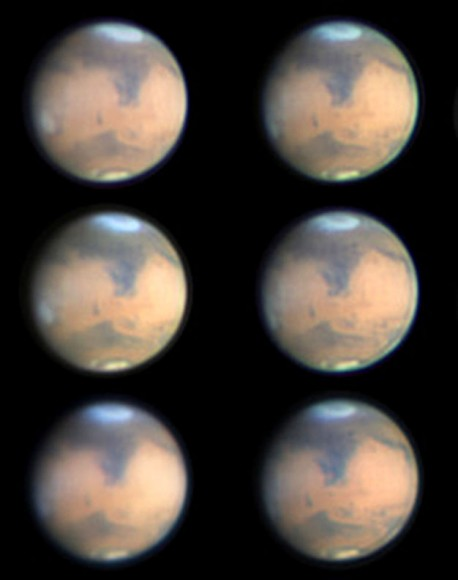 "Mars photographed during part of its rotation from Melbourne, Australia on March 8. The bright ""cap"" marks Hellas, now covered in wintertime frost and clouds. Credit: Maurice Valimberti"