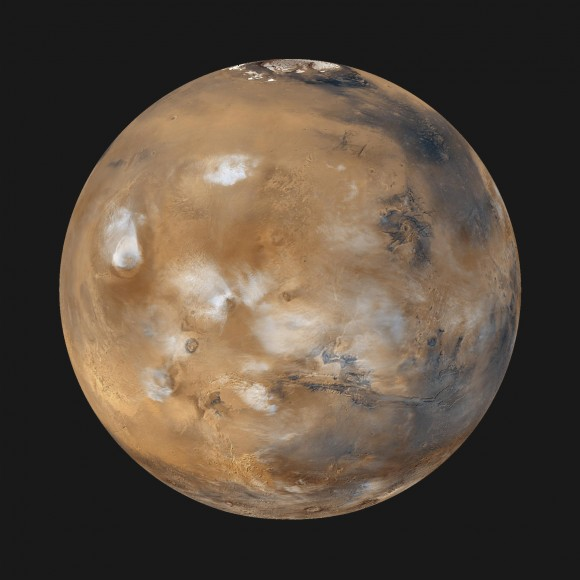 Mars photographed with the Mars Global Surveyor.