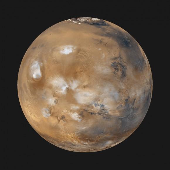 Mars photographed with the Mars Global Surveyor.
