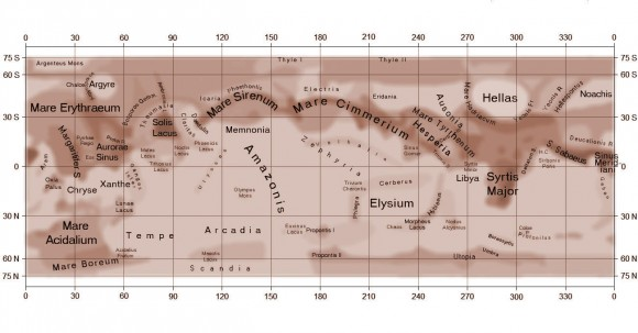 Map showing the most prominent dark features on Mars. Hellas is at upper right. To its north is the Africa-shaped windswept volcanic plain Syrtis Major. Credit: A.L.P.O.
