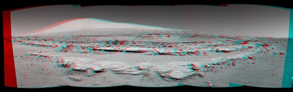 Martian Landscape With Rock Rows and Mount Sharp (Stereo)  This stereo landscape scene from NASA's Curiosity Mars rover on Feb. 19, 2014 shows rows of rocks in the foreground and Mount Sharp on the horizon. It appears three dimensional when viewed through red-blue glasses with the red lens on the left. Credit: NASA/JPL-Caltech