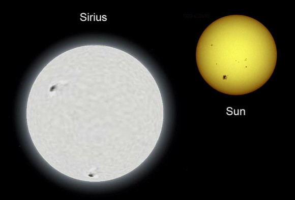 Sirius is hotter, brighter and 1.75 times the size of our own sun. It's located nearby as stars go at a distance of 8.7 light years, the main reason it appears so bright in the sky. Credit: Wikipedia